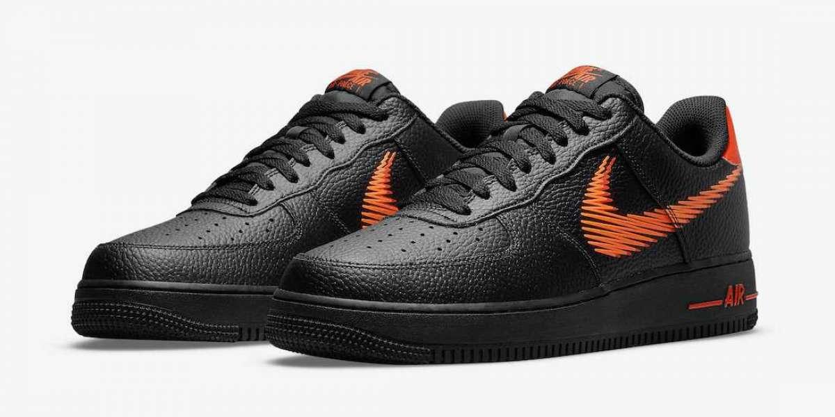 New Nike Air Force 1 Low Zig Zag Black/Orange DN4928-001