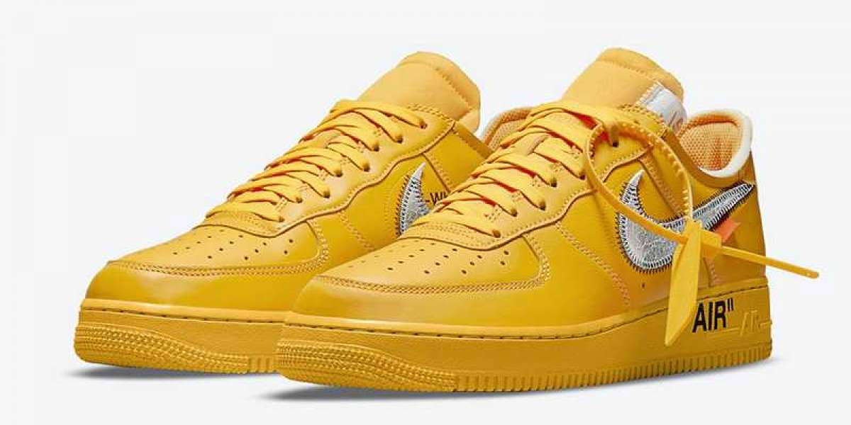 2021 New Off-White x Nike Air Force 1 Low University Gold/Metallic Silver DD1876-700